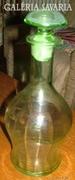 Biedermeier antik bordázott zöld üveg butélia