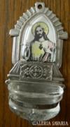 Antik üvegtartályos szenteltvíz tartó Jézus arcképéve