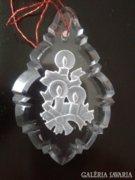 Karácsonyfadísz, csiszolt, gravírozott kristály