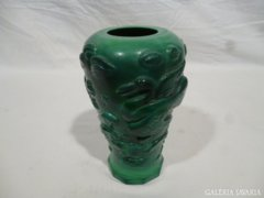 4987 Régi különleges halas madaras zöld üveg váza