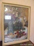 Máger Ágnes, csendélet, kék váza.