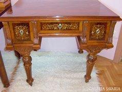 Kagyló és rézberakásos antik női íróasztal (felújítva)