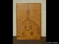1025 Régi minaret vésett fa táblakép
