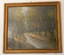 Jelzett kvalitásos festmény : Erdőbelső patakkal