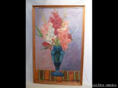 X921 T3 Seres János olaj festmény virág csendélet
