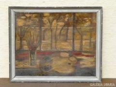 1029 R1 Gábor M. jelzésű festmény festő asztala