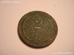 2 heller 1912 zöld patina