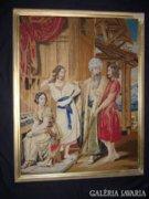 BIEDERMEIER gobelin TŰGOBELIN RÉSZLET muzeális kézi 1853