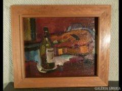 3061 T1 Jelzett csendélet borosüveggel