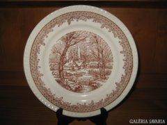 Téli tájképes porcelán tányér