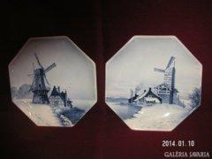 Villeroy & Boch _Metlach  , antik, majolika falitányér-pár, hibátlan, 32 cm.