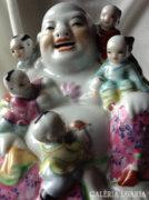 Kínai kézzel festett porcelán Buddha és vidám gyerekek