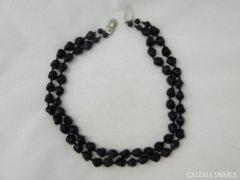 5980 Antik fekete dupla gyöngysor nyaklánc 52 cm