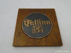 5985 Régi Észt kétoldalas díszplakett Tallin