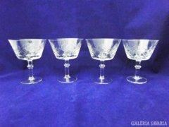 7624 Régi nagyméretű likőrös talpas üveg pohár 4db