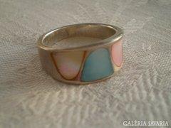 Gyöngyház színes ezüst gyűrű