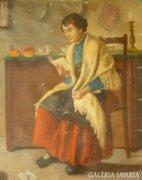 G166 Lakos Alfréd Olvasó lány népviseletben