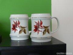 Hollóházi  porcelán korsó párban