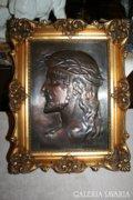 Gyönyörű jelzett bronz Jézus plakett