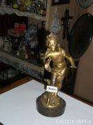 Tűzaranyozott réz kislány figura