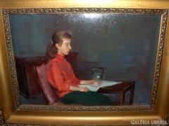 Istókovits Kálmán festménye : Teázó Nő  c.
