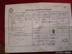 Házassági anyakönyvi kivonat 1910-1940.