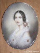 Miniatűr női portré, 19.sz.