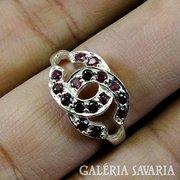 100% valódi gránát, ezüst gyűrű 925 ródiumozott