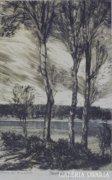 """Bordás Ferenc : """"Három fa"""" (Szeged felett) 1954"""