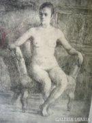 Boldizsár István (1897-1984): Ülő női portré, rézkarc