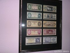Exclusive historical Hungarian forint banknote collection: 10,20,50,100,500 ft luxury anti-design