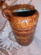 Jelzett barna iparművészeti kerámia váza