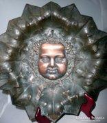 Bacchus falitál szecessziós bronz szőlős tál
