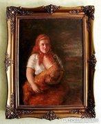Antik, Szirmay olaj-vászon festmény ! Anya , gyermekével.