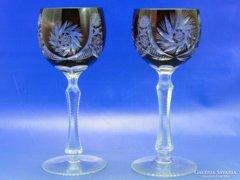 0A993 Régi bordó talpas kristály pohár pár
