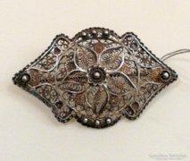 Antik ezüst csipke bross 1910-30.