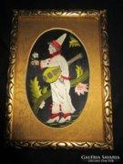 ART DECO BOHÓC selyem hímzett farafott keret 1922