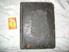 Antik, díszes irattartó, mappa bőrből