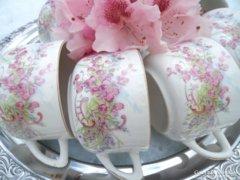 Antik virágos csészék ,,7 darab ,,