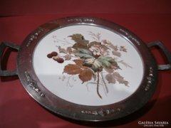 ART DECO fémszerelvénnyel porcelánfajanszbetétes tálca