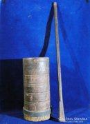0C181 Antik néprajzi pántolt fa mozsár törővel