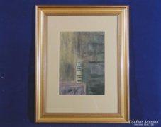0C276 Csendélet vázában papír pasztell kép