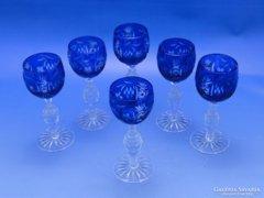 0C464 Régi csiszoltüveg likőrös talpas pohár 6 db
