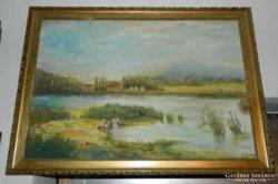 Antik jelzett olaj / vászon festmény életkép