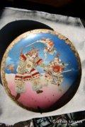 Nagyméretű mázas kerámiatál japán szamurájokkal