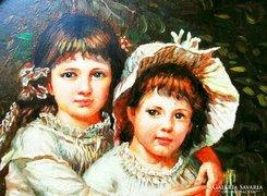 Olaj festmény - Gyerekek Virágokkal
