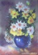 Virágcsokor kék vázában - Ben Farkas