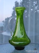 Zöld olasz üvegkancsó átlátszó füllel
