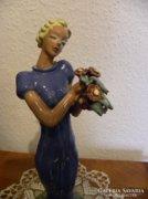 Art Deco Női figura ( Kerámia ) - 32 cm. magas