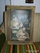 Antik jelzett - barokk lányok - olaj/vászon festmény blondel